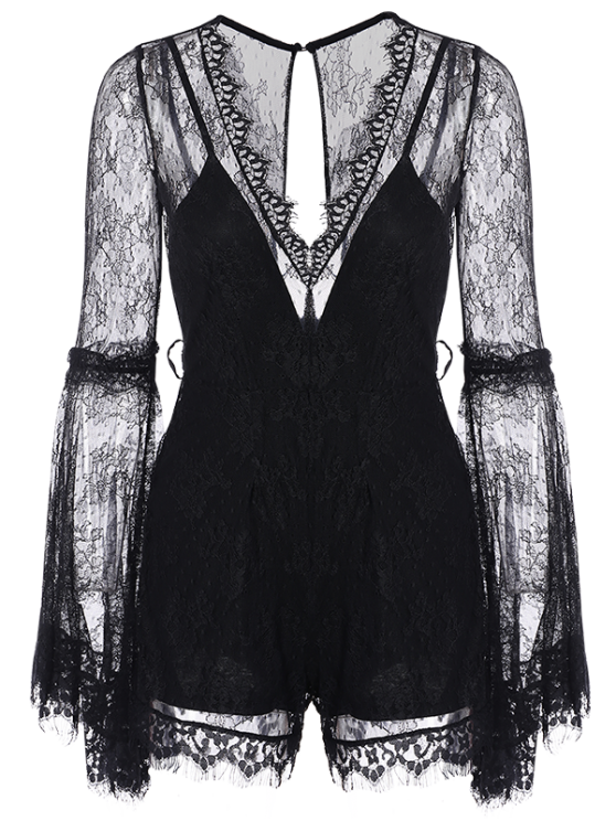 See-Through V Neck Lace Romper - BLACK S Mobile