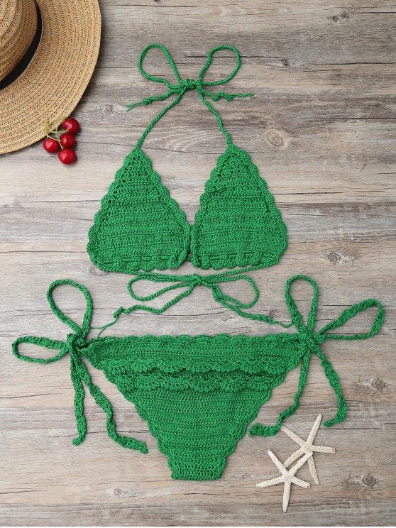 String Knitting Bikini Set - GREEN ONE SIZE Mobile