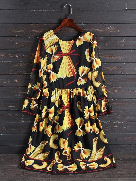 chic Print Long Sleeve Vintage Dress - COLORMIX L