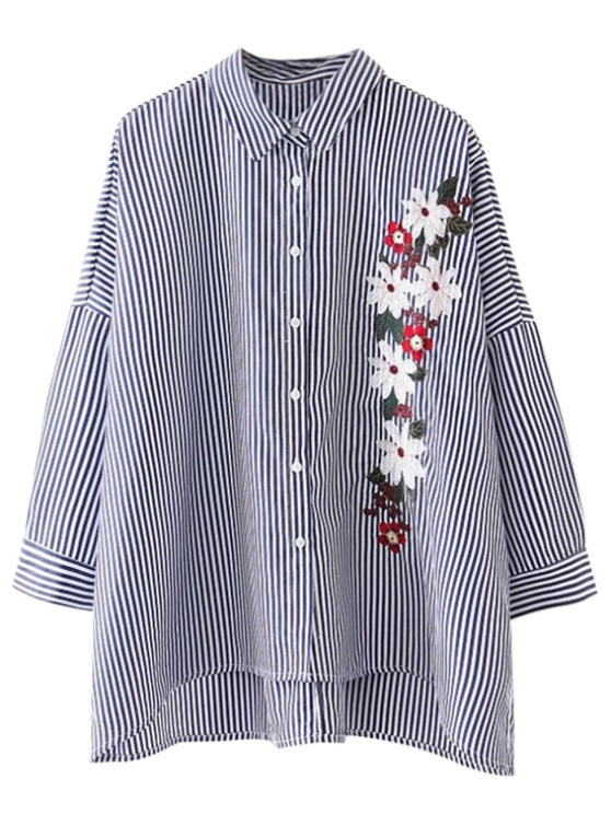 fancy High Low Striped Embroidered Loose Shirt - STRIPE S
