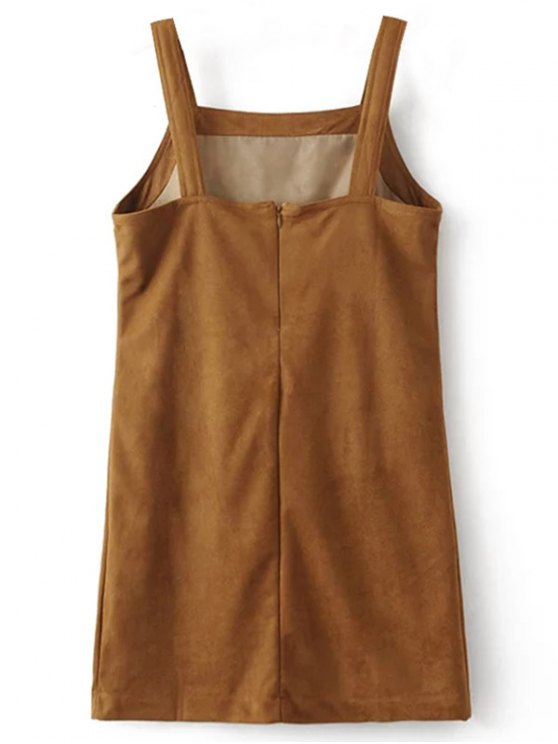 Faux Suede Embroidered Mini Dress - BROWN L Mobile