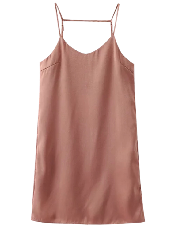 Adjustable Strap Satin Dress - PINK SMOKE L Mobile