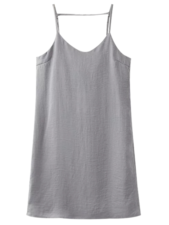 womens Adjustable Strap Satin Dress - SILVER GRAY S