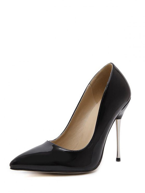 Stiletto Heel Patent Leather Pointed Toe Pumps - BLACK 37 Mobile