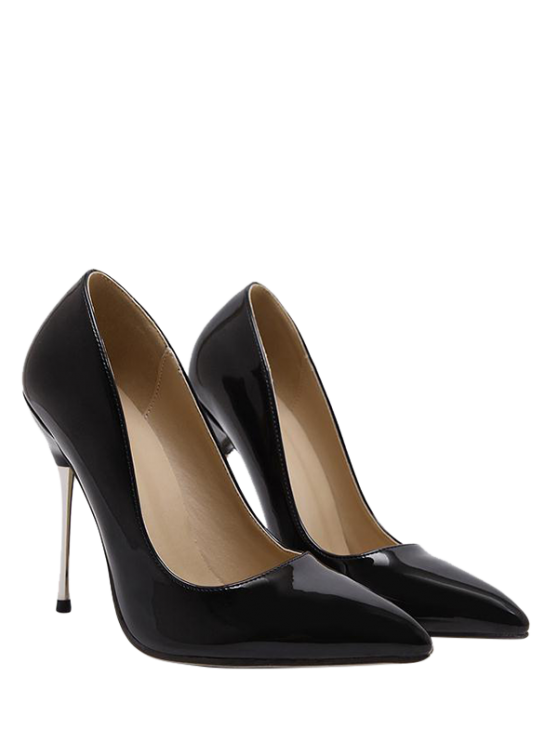 sale Stiletto Heel Patent Leather Pointed Toe Pumps - BLACK 37
