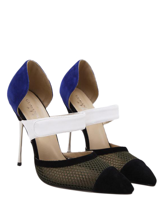 Mesh Pointed Toe Color Block Pumps - BLUE 37 Mobile