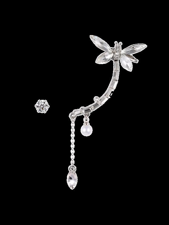 trendy Dragonfly Ear Cuff and Rhinestone Earring - SILVER