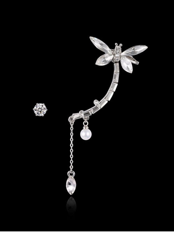 Dragonfly Ear Cuff and Rhinestone Earring - SILVER  Mobile