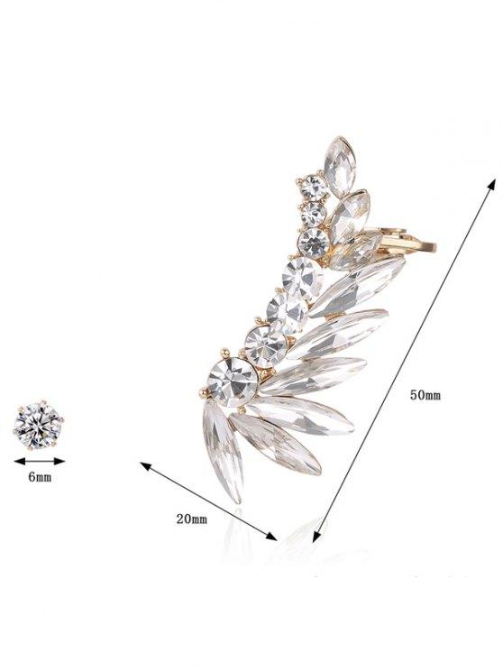 Leaf Ear Cuff and Rhinestone Earring - GOLDEN  Mobile