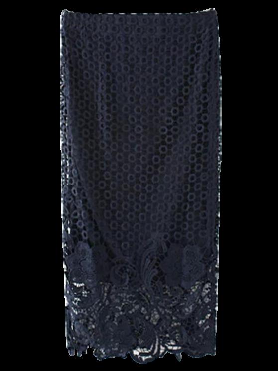 Ganchillo del cordón de la falda del lápiz - Azul Purpúreo M
