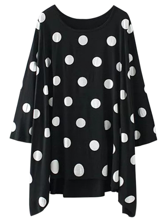 affordable Baggy Polka Dot Blouse - BLACK S