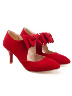 Bowknot Pointed Toe Suede Pumps - Red 39