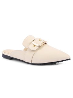 Belt Buckle Flat Heel Slippers - Off-white 39