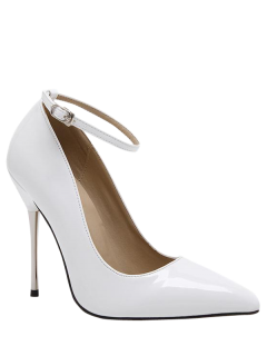Ankle Strap Stiletto Heel Patent Leather Pumps - White 40