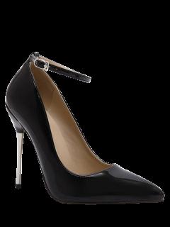 Ankle Strap Stiletto Heel Patent Leather Pumps - Black 39