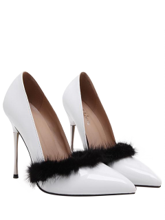 Faux Fur Pointed Toe Stiletto Heel Pumps - White 40