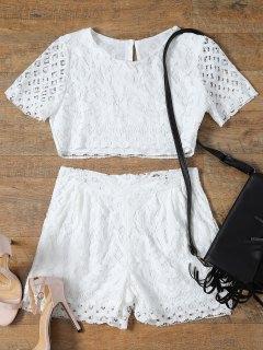 Short Sleeve Guipure Lace Crop Top + Pocket Shortst - White L