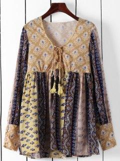 Long Sleeve High-Waisted Tunic Dress - Yellow L