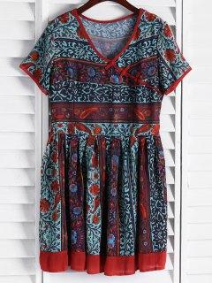 Vintage Floral Short Sleeve Flare Dress - L