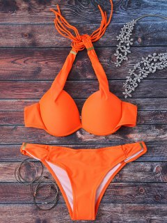 Halterneck Push Up Bikini Set - Orange M