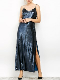 Backless Sparkly Maxi Slip Sexy Prom Dress - Ice Blue S