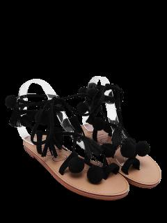 Lace Up Tassels Pompon Sandals - Black 40