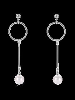 Fake Pearl Circle Drop Earrings - Silver