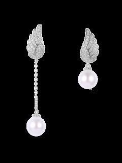 Fake Pearl Wing Asymmetric Earrings - Silver