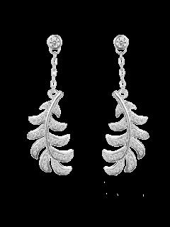 Rhinestoned Leaf Drop Earrings - Silver