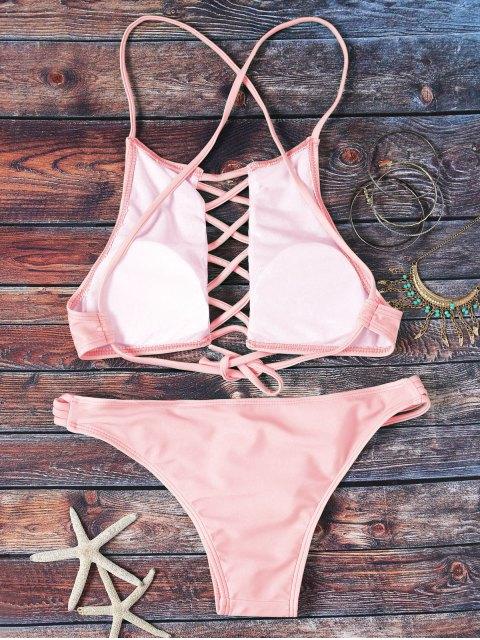 hot Pink Hollow Out Halter Bikini Set - PINK L Mobile