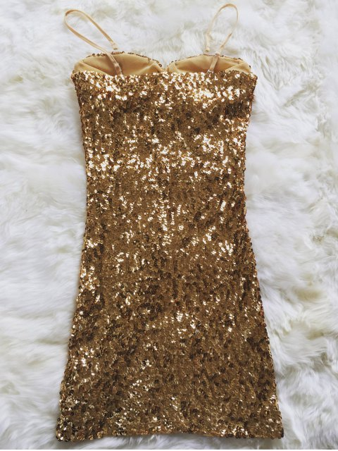 best Mini Slip Sequins Dress - GOLDEN ONE SIZE(FIT SIZE XS TO M) Mobile