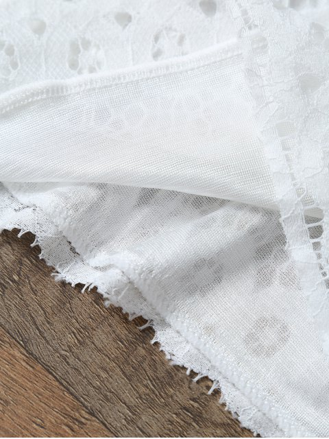 fashion Short Sleeve Guipure Lace Crop Top + Pocket Shortst - WHITE L Mobile