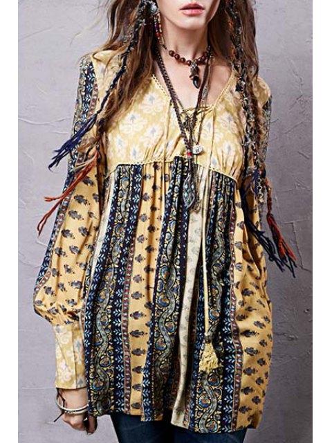 lady Long Sleeve High-Waisted Tunic Dress - YELLOW M Mobile