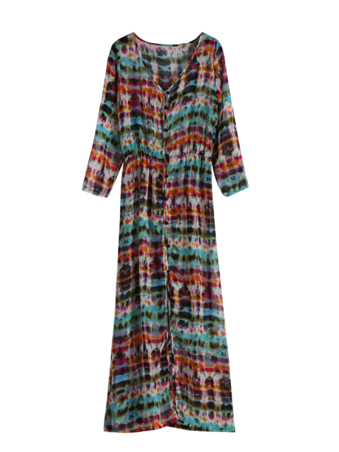 buy Semi Sheer Button Front Maxi Dress - RED AND GREEN ONE SIZE Mobile