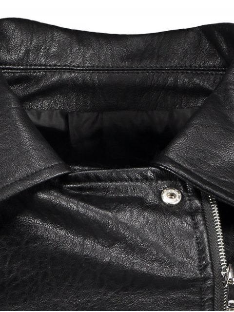 latest Zip-Up PU Leather Motorcycle Jacket - BLACK L Mobile