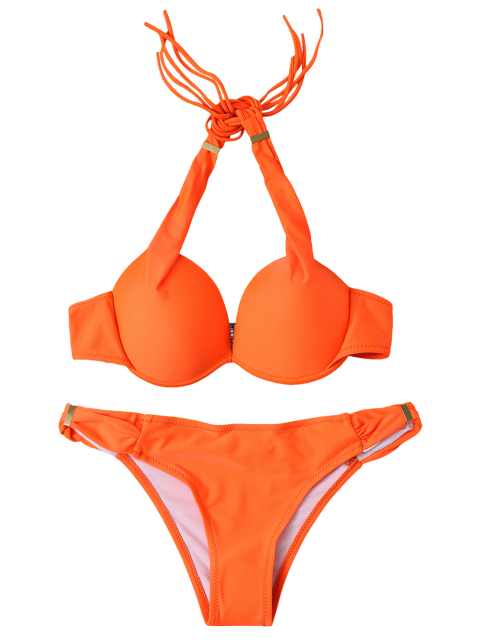 buy Halterneck Push Up Bikini Set - ORANGE S Mobile