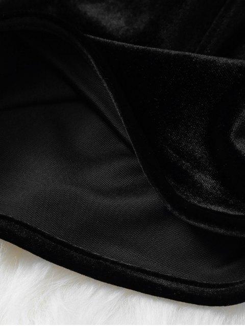 outfits Velvet Elastic Waist Shorts - BLACK S Mobile