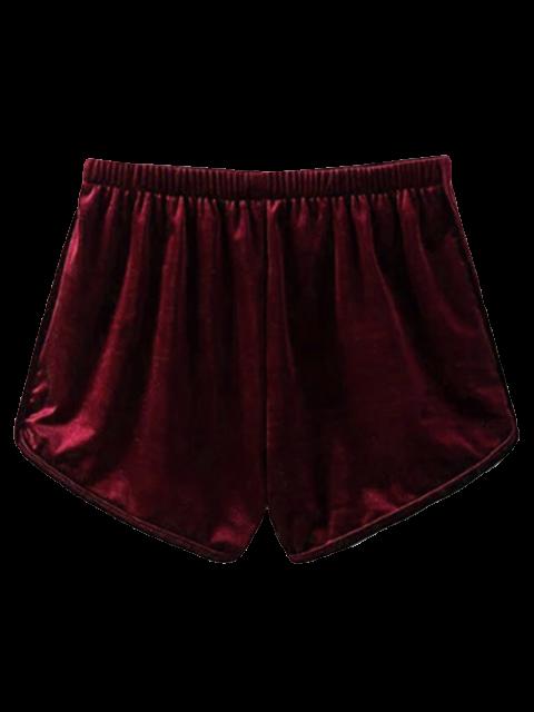 shops Velvet Elastic Waist Shorts - WINE RED M Mobile