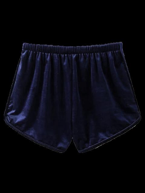 fancy Velvet Elastic Waist Shorts - PURPLISH BLUE L Mobile