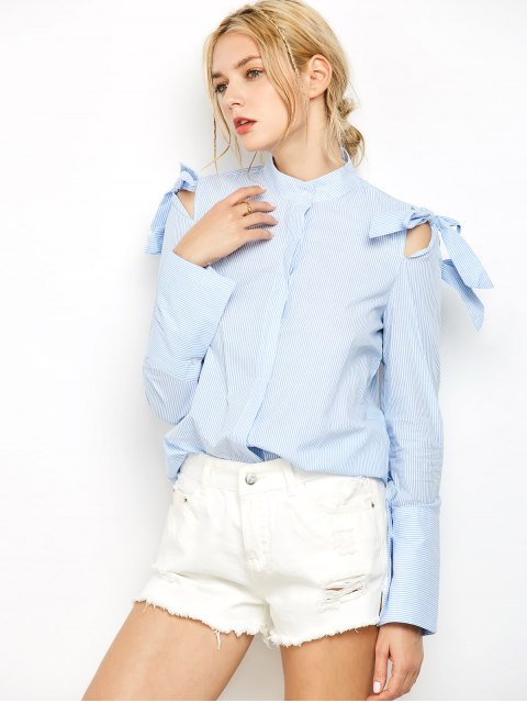 lady Striped Stand Neck Bowknot Shirt - STRIPE S Mobile