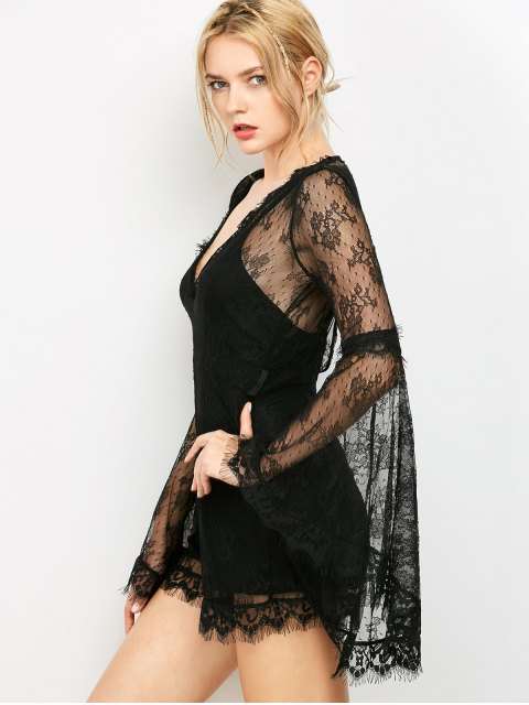 buy See-Through V Neck Lace Romper - BLACK S Mobile