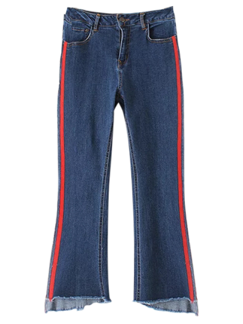 women Patched Cutoffs Flare Jeans - BLUE M Mobile