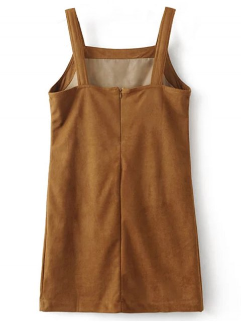 hot Faux Suede Embroidered Mini Dress - BROWN L Mobile