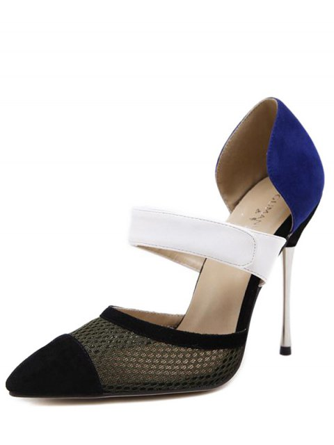latest Mesh Pointed Toe Color Block Pumps - BLUE 37 Mobile
