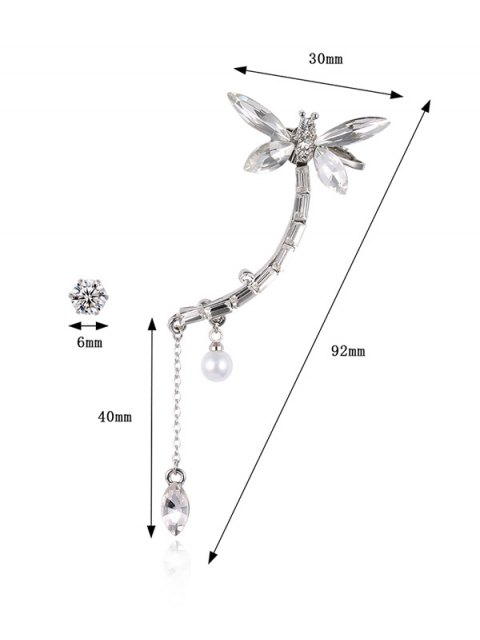 trendy Dragonfly Ear Cuff and Rhinestone Earring - SILVER  Mobile