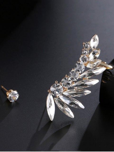 fashion Leaf Ear Cuff and Rhinestone Earring - GOLDEN  Mobile