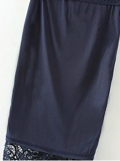 fashion Crochet Lace Pencil Skirt - PURPLISH BLUE M Mobile