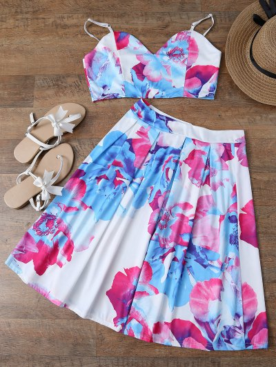Floral Print Crop Cami Top And Skirt - White