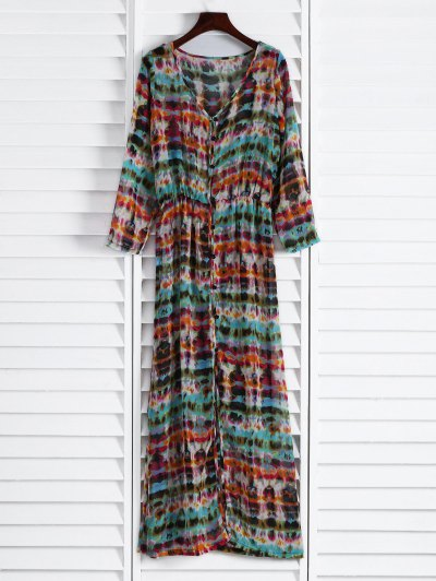 Semi Sheer Button Front Maxi Dress - Red And Green