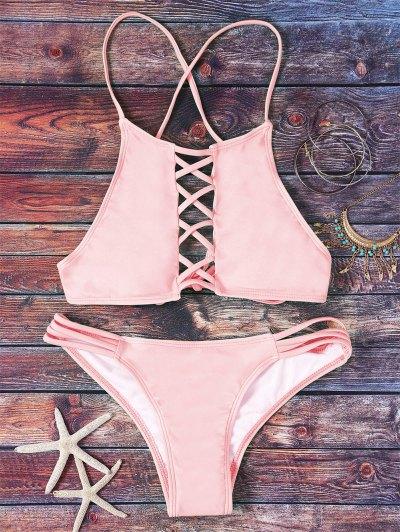 Pink Hollow Out Halter Bikini Set - Pink L